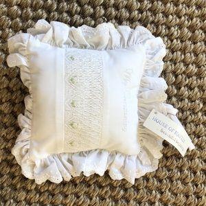 House of Hatten Smocked Musical Pillow Christening